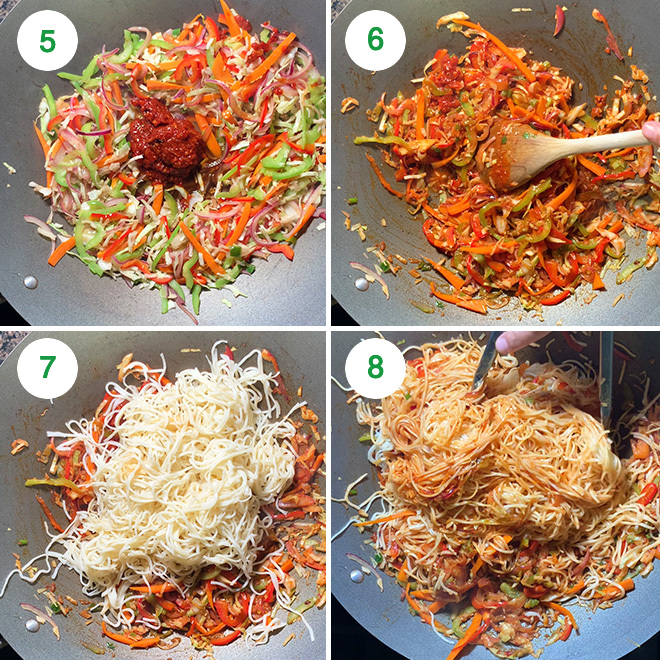 step by step picture collage of making schezwan noodles