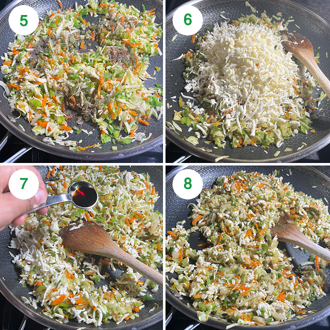 step by step picture collage of making paneer and vegetable filling for momos