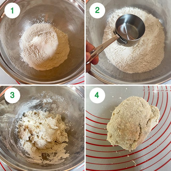 step by step picture collage of making momos dough