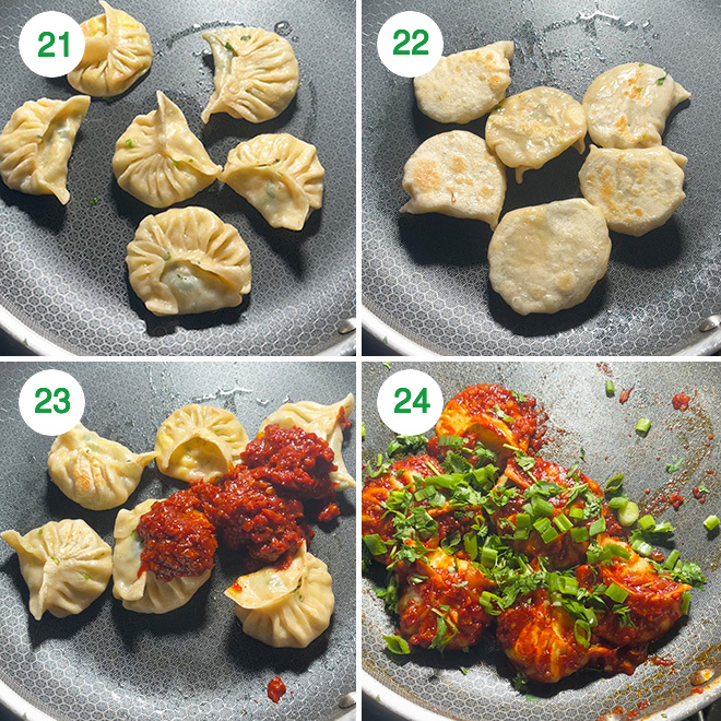 step by step picture collage of making schezwan paneer momos
