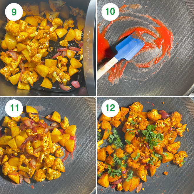 step by step picture collage of making aloo gobi in air fryer