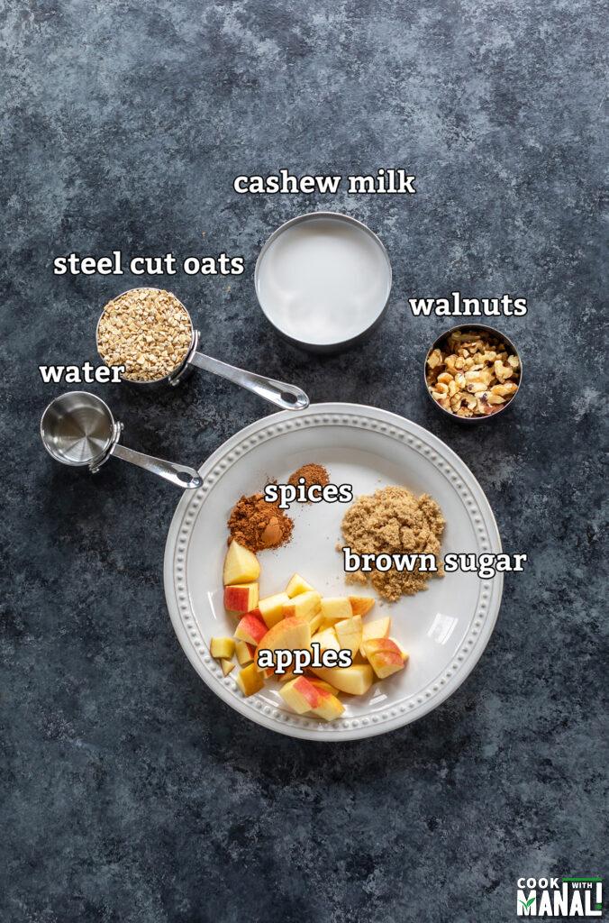 ingredients for apple pie oatmeal arranged on a board