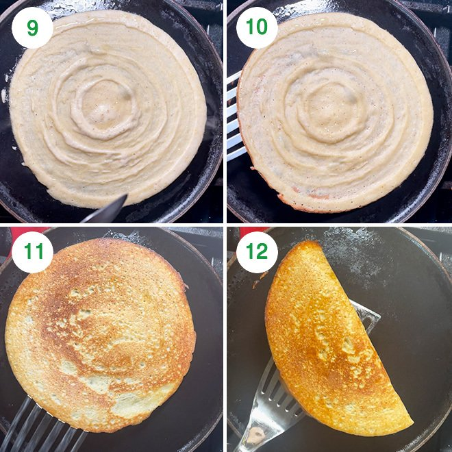 step by step picture collage of making moong dal dosa