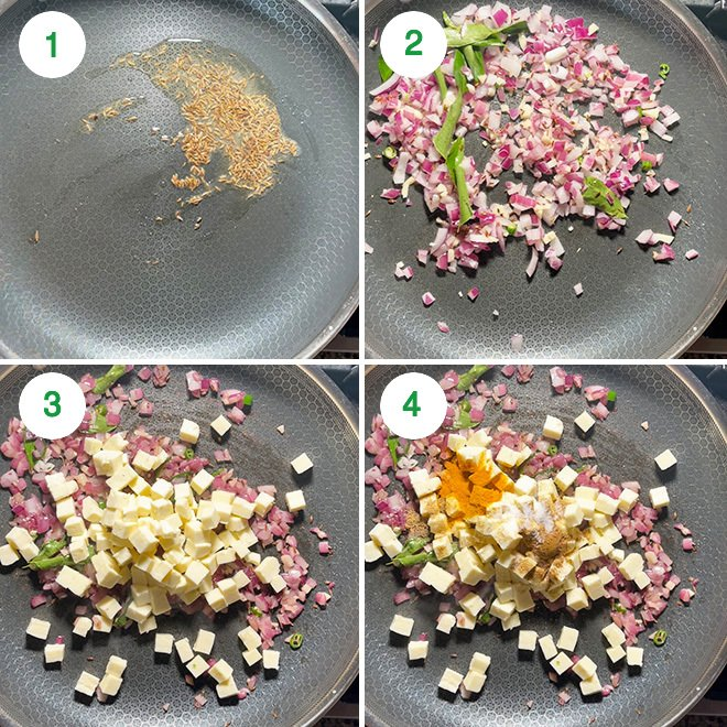 step by step picture collage of making palak paneer stir fry