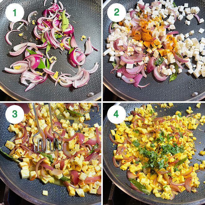 step by step picture collage of making paneer filling for moong dal dosa