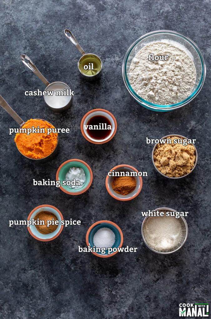 ingredients for vegan pumpkin bread arranged on a board