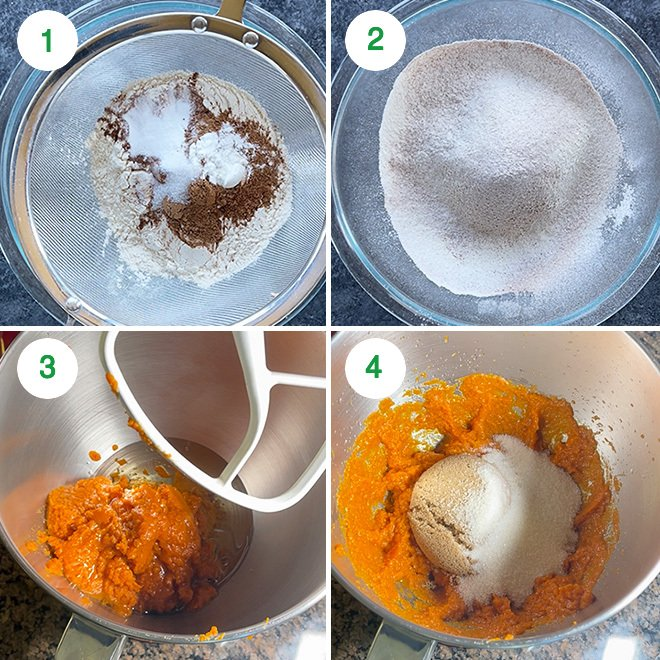 step by step picture collage of making vegan pumpkin bread