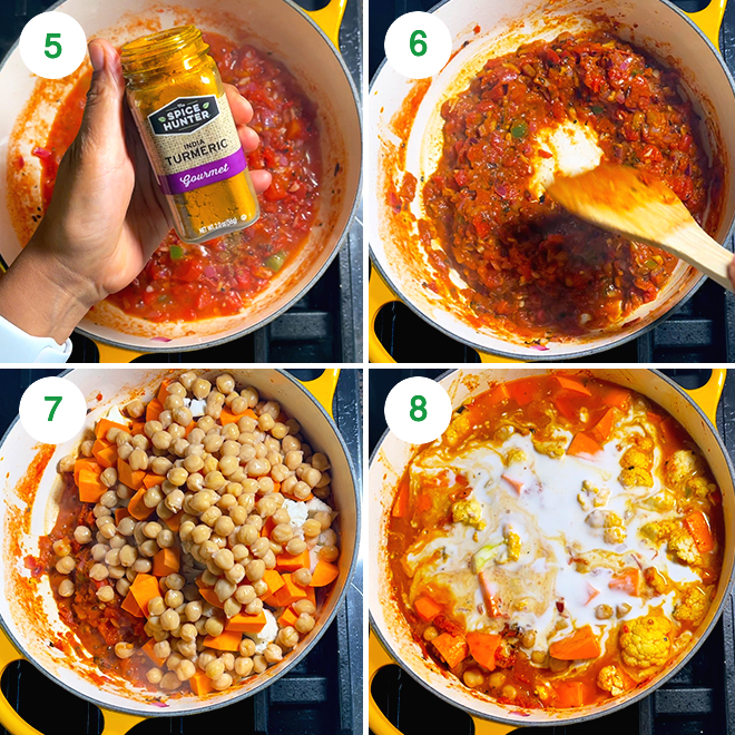 step by step picture collage of making vegetable chickpea coconut curry