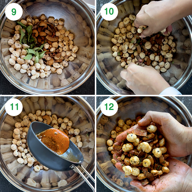 step by step picture collage of making makhana namkeen in air fryer