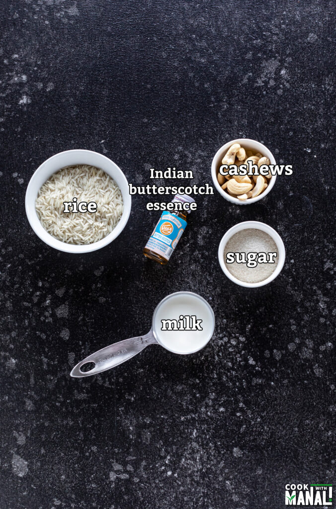 ingredients for butterscotch kheer arranged on a board