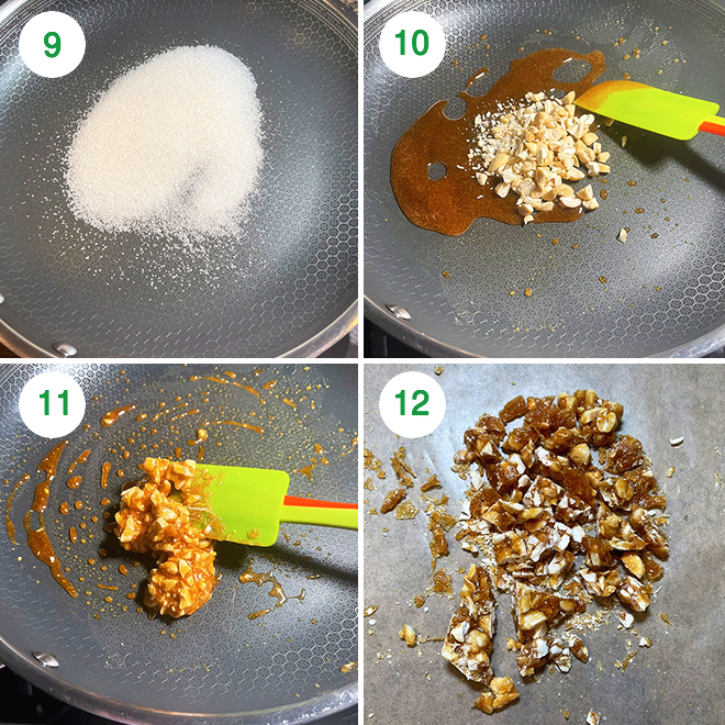 step by step picture collage of making butterscotch kheer