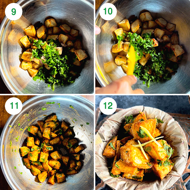 step by step picture collage of making delhi style aloo chaat in the air fryer