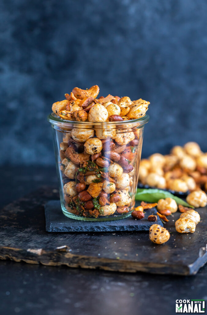 makhana, nuts placed in a glass jar
