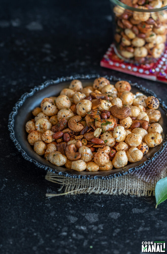 nuts and makhana placed in a plate