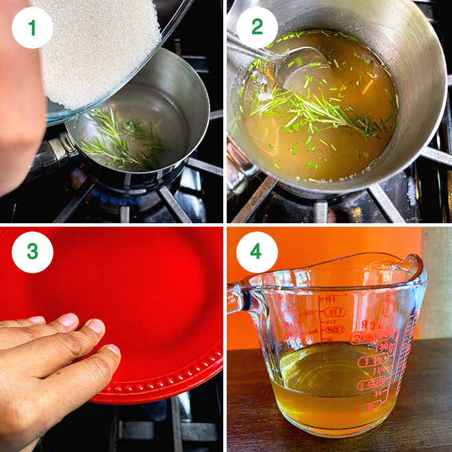 step by step picture collage of making orange rosemary mocktail